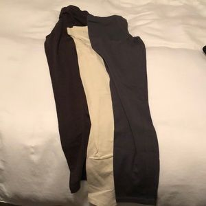 3 pack leggings- brown, ivory and gray